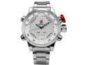 SHARK Mens LED Date Day White Dial Sport Military Stainless Steel Quartz Wrist Watch
