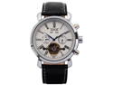 Elegant Men Leather Automatic Mechanical White Dial Date & Day Wrist Watch
