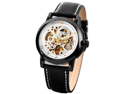 KS Men Black Leather Band Automatic Mechanical Skeleton Waterproof Sport Watch