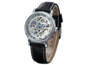 KS Skeleton Mechanical Leather Band Men's Classic Leather Analog Wrist Watch