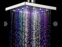 Romantic LED Multi-color Square 8 Inch Bath Rainfall Shower Head Colorful