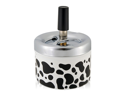 Press Top Stainless Steel Ashtray (White)