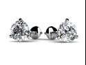 1.00 ct Round Cut Cubic Zirconia Stud Earrings in Martini Setting Screw Back