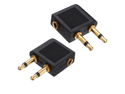 2 pcs 3.5mm Female to 2 x 3.5mm Male Audio Adapter Jack Airplane Airline Headphone Earphone