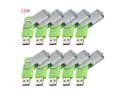Enfain® 10 x 10Pcs USB 2.0 Flash Drive Memory Stick Fold Storage Thumb Stick Pen Swivel Design (1GB, Green)