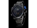 Men's Multi-Functional Analog-Digital Black Steel Wrist Watch