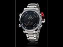 Men's Multi-Functional Analog-Digital Silver Steel Wrist Watch