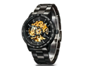 Men's Stainless Steel Automatic Skeleton Mechanical Wristwatch With Japanese Seiko Automatic Movement