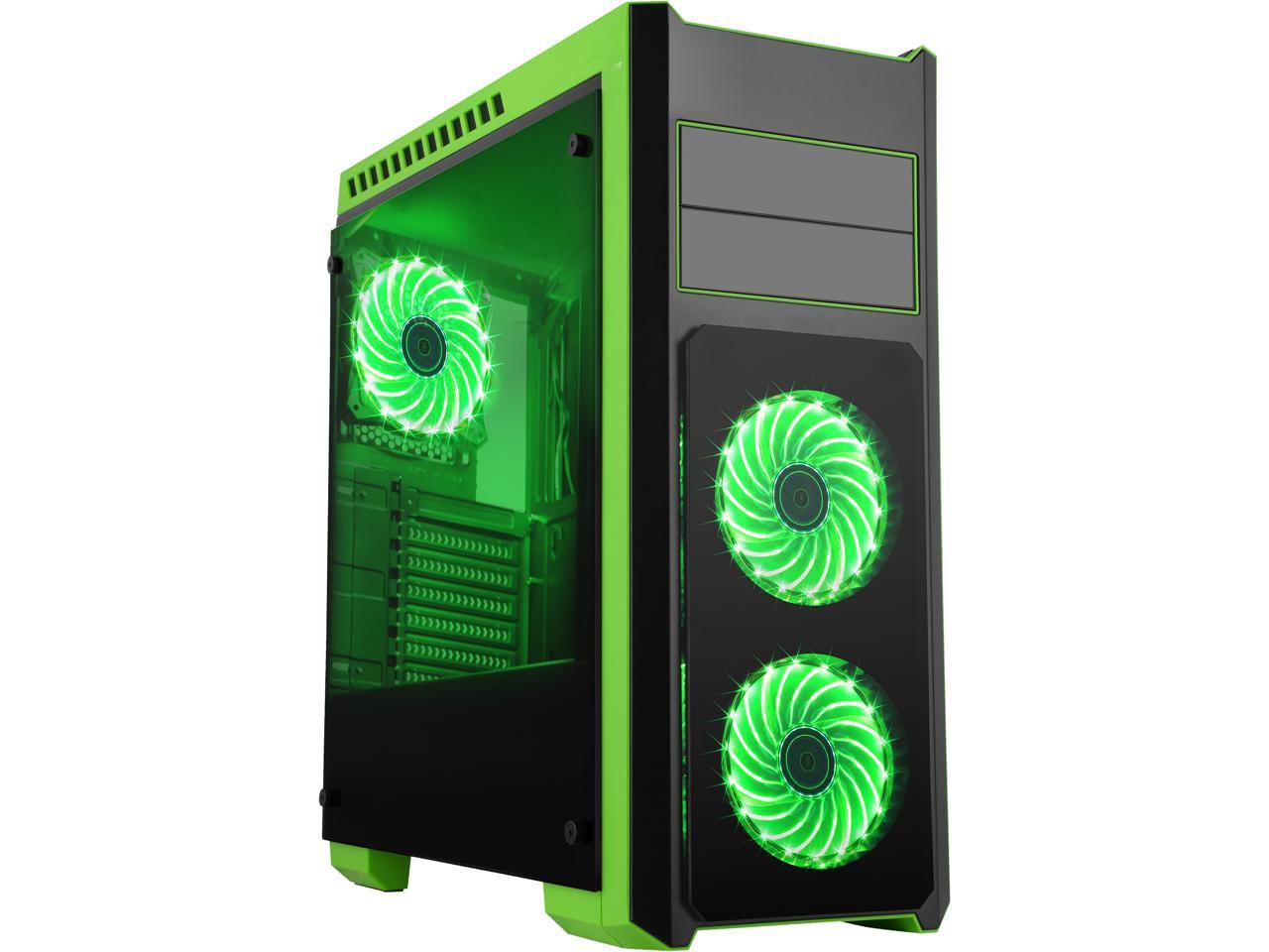 Diypc DIY-TG8-BG ATX Mid Tower Gaming Computer Case Chassis and USB 3.0 (Black / Green)