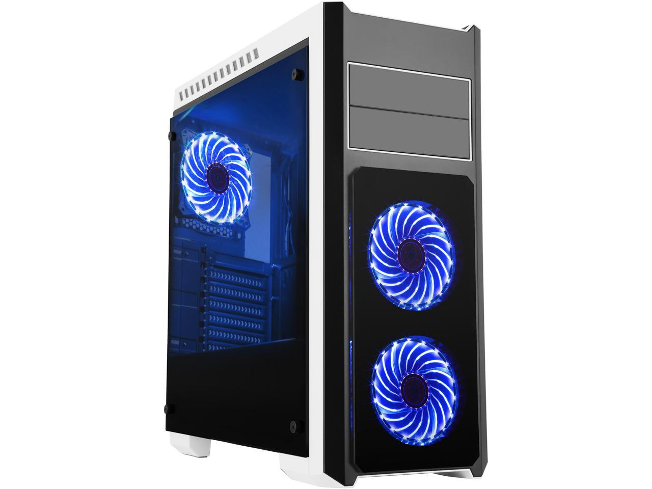 DIYPC DIY-TG8-BW ATX Full Tower Gaming Computer Case Chassis and Pre-Installed 3 x Blue Light Fan