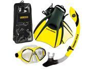 US Divers Admiral Mask, Trek Travel Fins, Island Dry Snorkel Set, with Snorkeling Gear Backpack