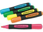 Universal 18860 Desk Highlighter with Comfort Grip  Chisel Tip  FL-BE GN OE PK YW  5/set