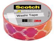 """3M Washi Tape .59""""X393"""" (15mmx10m)-Quatrefoil Sun"""