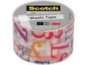 "3M Washi Tape .59""X393"" (15mmx10m)-Teal & Black Stars"