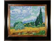 Van Gogh Paintings: Wheat Field with Cypresses with Opulent Frame - Dark Stained Wood with Gold Trim - Hand Painted Framed Canvas Art