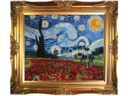 """Art Reproduction Oil Painting - Van Gogh Paintings: Starry Poppies Collage (artist interpretation) with Victorian Gold Frame - Gold Finish - 28"""" X 32"""" - Hand Painted Framed Canvas Art"""