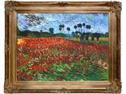"""Art Reproduction Oil Painting - Van Gogh Paintings: Field of Poppies with Renaissance Bronze Frame - Bronze Finish - 40"""" X 50"""" - Hand Painted Framed Canvas Art"""
