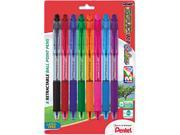 R.S.V.P. Rt Ballpoint Retractable Pen, Assorted Ink, 8/Pk