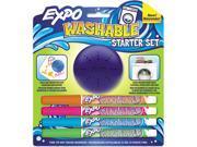Washable Dry Erase Marker, Fine Point, Start Set, Assorted, 4/Pk W/Era