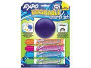 Washable Dry Erase Marker, Med Point, Starter Set, Assorted, 4/Pk W/Er