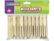Flat Wood Slotted Clothespins, 3 3/4 Length, 40 Clothespins/Pack