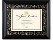 Florence Document Frame With Mat, Black, Plastic, 11 X 14