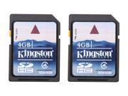 Kingston 4GB Secure Digital High-Capacity (SDHC) Flash Card Twin Pack (2x4GB) Model SD4/4GB-2P