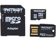 Patriot LX Series 32GB Class 10 Micro SDHC Flash Card Kit With SD & USB 2.0 Adapter Model PSF32GMCSHC10UK