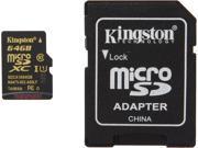 Kingston 64GB microSDXC Flash Card With SD Adaptor Model SDCA10/64GB
