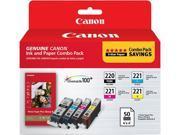 Canon Canon PGI-220 & CLI-221, Cartridge 220, Cartridge 221 (2945B011) Ink and Paper Combo Pack Black / Cyan / Magenta / Yellow