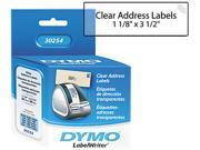 DYMO 30254 Address Labels, 1-1/8 x 3-1/2, Clear, 130/Box