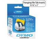 DYMO 30376 Hanging File Folder Tab Inserts, 9/16 x 2, White, 260/Box