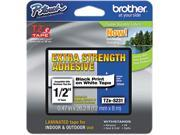 """Brother TZES231 12mm (0.47"""") Black on White Tape with Extra Strength Adhesive 8m (26.2 ft)"""