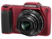 OLYMPUS SZ-15 V102110RU010 Red 16 MP 24X Optical Zoom Wide Angle Digital Camera with Mini Tripod and Carrying Case HDTV Output