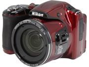 Nikon COOLPIX L830 26440 Red 16 MP 34X Optical Zoom Wide Angle Digital Camera HDTV Output