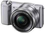 """SONY Alpha a5000 ILCE-5000L/S Silver 20.1MP 3.0"""" 460K LCD Compact Interchangeable Lens Digital Camera with 16-50mm Lens"""
