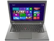 """ThinkPad Laptop T Series T440 (20B6008EUS) Intel Core i5 4200U (1.60 GHz) 4 GB Memory 500 GB HDD Intel HD Graphics 4400 14.1"""" Windows 7 Professional 64-Bit Upgradable to Windows 8 Pro 64-Bit"""