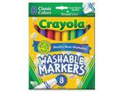 Crayola 58-7808 Washable Markers, Broad Point, Classic Colors, 8/Pack