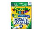 Crayola 58-7832 Washable Markers, Broad Point, Bold Colors, 8/Set