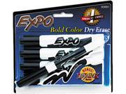 EXPO 83661 Dry Erase Markers, Chisel Tip, Black, 4/Set