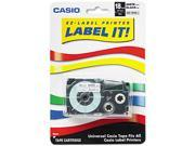 Casio XR18WES Tape Cassette for KL Label Makers, 3/4in x 26ft, Black on White