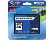 """Brother P-Touch TZ Series Tape Cartridge , 0.38""""w, Black on White"""