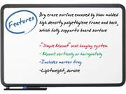 Iceberg 37061 Ingenuity Dry Erase Board, Resin Frame with Tray, 66 x 42, Black