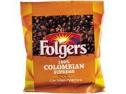 Folgers 84969584 100% Colombian Pouch Coffee - Regular - Dark/Bold - Ground - 42 / Carton