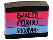 U.S. Stamp & Sign 8800 Stack Stamp, EMAILED, FAXED, RECEIVED, 1 13/16 x 5/8, Assorted Fluorescent Ink