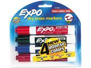 EXPO 81044 Low Odor Dry Erase Markers, Chisel Tip, Assorted, 4/Set