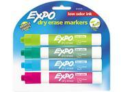 EXPO 81029 Low Odor Dry Erase Marker, Chisel Tip, Classic Colors Assorted, 4/Set
