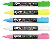 EXPO 14075 Bright Sticks Wet-Erase Fluorescent Marker Set, Bullet Tip, Assorted