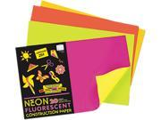 Pacon 104303 Neon Construction Paper, 76 lbs., 12 x 18, Assorted, 20 Sheets/Pack