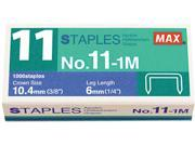 "Max NO11-1M No. 11 Mini Staples for HD-11FLK, 1/4"" Leg, 3/8""Crown Flat Clinch, 1,000/Box"
